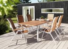 WYPRZEDAŻ!: Stół VERMONT d.240+4 krzesła VERMONT, NOWA CENA: 1840zł, stara cena: 2395zł (OSZCZĘDZASZ 555zł!). STÓŁ: rozmiar po zmontowaniu: szerokość: 100cm, długość: 240cm, wysokość: 75cm, materiał stołu: rama/stelaż: aluminium, blat: drewno twarde Parana, funkcja: otwór na parasol, rozmiar regulowany: 180-240 cm, obróbka: olejowany, kolor: szary. KRZESŁO: rozmiar po zmontowaniu: szerokość: 58 cm, długość: 57 cm, wysokość: 88 cm, materiał krzesła: rama/stelaż: aluminium, oparcie: drewno twarde Parana, siedzisko: drewno twarde Parana, funkcja: można ustawiać jedno na drugim, obróbka: olejowane, kolor: szary. Do kupienia w sklepach JYSK.