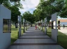 Instalacja 'Through the Lens of Faith' na terenie Muzeum Auschwitz-Birkenau. Projekt instalacji: Daniel Libeskind; fotografie: Caryl Englander; kurator: Henri Lustiger Thaler