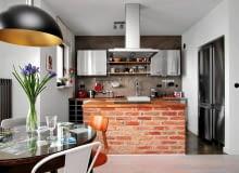 kuchnia, czerwona cegła, wyspa kuchenna