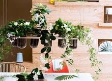 Stefanotis, gardenia i jaśmin na wiszącym stelażu towarzysząc domownikom w posiłkach, napełniają jadalnię cudownym zapachem.