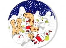 Przyszło nam do głowy, by zaprosić w tym roku na święta gwiazdki, choinki i Mikołajów. Nie do stołu, tylko na... <br /> ŚWIĘTA. Talerz na ciasto, kamionka, 176 zł, Alessi