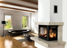 modern living room interior with fireplace (3D rendering)