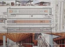 Projekt stacji metra C4 - Powstańców Śląskich (projekt konsorcjum 'Metroprojekt' i AMC Andrzej M. Chołdzyński)