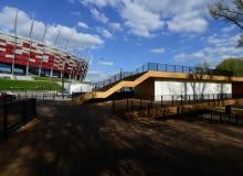 Zrealizowany zwycięski projekt z 2010 r. stanął w Warszawie obok Stadionu Narodowego