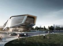 Wizualizacja Muzeum w Dalian. Widok za dnia.