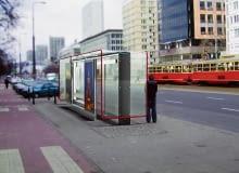 Projekt wiaty przystankowej dla Warszawy, który zwyciężył w konkursie w 2006 roku. Autor: Towarzystwo Projektowe Grzegorz Niwiński i Jerzy Porębski oraz firma Tejbrant Polska.