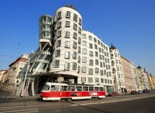 Prague, Czech Republic --- Czech Republic, Prague, historical centre listed as World Heritage by UNESCO, Nove Mesto (the New Town), Nationale Nederlanden building nicknamed the dancing house or Fred and Ginger, architects : Vlado Milunic and Frank Gehry, 1996 --- Image by René Mattes/Hemis/Corbis