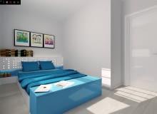 sypialnia, mała sypialnia, skandynawski styl, projekt sypialni, niebieska sypialnia