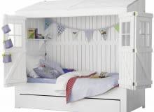 Łóżko-domek, drewno sosnowe, 220 x 108 cm, wys. 226 cm, Tom Mebel, na zamówienie
