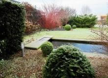 Zimą czytelny staje się układ przestrzenny ogrodu - można podziwiać strukturę drzew i krzewów.