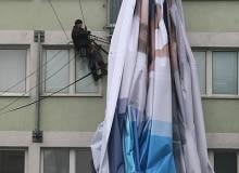 09.03.2009 WARSZAWA - RONDO ONZ - ZDEJMOWANIE REKLAMA , WIELKI FORMAT , CATERINA
