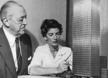 Mies van der Rohe oraz Phyllis Lambert przy modelu Seagram Building