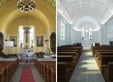 Kościół w Żórawinie. Z lewej - stan obecny. Z prawej - po rewitalizacji.
