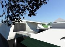 Wizualizacja pływającego pawilonu - uzupełnienia przestrzeni miedzy wyspami Tamka i Piasek.