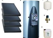 System solarny VELUX:A - kolektory słoneczneB - izolowany zbiornik z grupą pompowo-sterującąC - przepompowe naczynie wyrównawczeD - termostatyczny zawór mieszającyE - glikol do napełniania instalacji