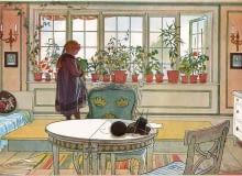 Podlewanie roślin na parapecie - obraz autorstwa Carla Larssona