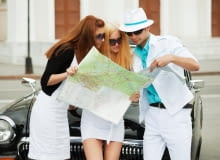 turysta, zwiedzanie, mapa, para, turyści