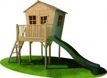 """Drewniany domek """"Bolek"""" ze zjeżdżalnią. Prezenty na dzień dziecka"""