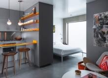 małe mieszkanie, kawalerka, kawalerka w odcieniach szarości