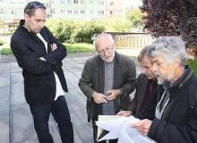 Peter Zumthor (drugi od lewej) podczas rozmów o przebudowie synagogi w Kielcach