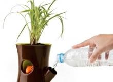 Doniczka z samonawadnianiem roślin. Wystarczy raz na jakiś czas uzupełnić zapas wody w zbiorniku w dolnej części doniczki