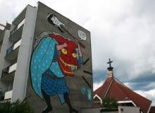 Mural autorstwa Ozmo Gionatta Gessi wykonany podczas pierwszej edycji Festiwalu Monumental Art na gdańskim osiedlu Zaspa.