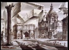 Kaprys architektoniczny. Forum Romanum albo Dwa Światy I projekt scenografii piórko, pędzel, tusz chiński, akwarela, papier do akwareli na krośnie, 2013