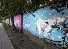 Mural na murze zoo od strony mostu Gdańskiego