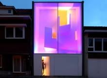 belgia, minimalizm, fasada, światło, dom jednorodzinny