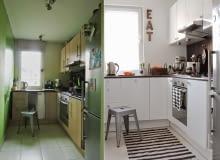 Metamorfoza kuchni: wcześniej ciemna i bez wyrazu, po przemianie jasna i nowowczesna.