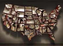 design, półka w kształcie Ameryki