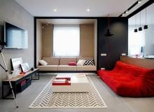 nowoczesne mieszkanie, małe mieszkanie, mieszkanie z czerwonymi akcentami