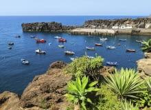 Madera nazywana jest Wyspą Wiecznej Wiosny. Na zdjęciu: znajdujące się u wybrzeża skały wulkaniczne porośnięte różnymi gatunkami dracen.