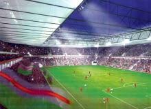 Dla niemieckiego konsorcjum stadion zaprojektowali architekci z pracowni Rhode Kellerman Wawrowsky. To obiekt na 35 tys. miejsc z rozsuwanym, przeszklonym dachem. Raczej niemożliwe jest, by na polskim stadionie trybuny znajdowały się tak blisko boiska i nie były ogrodzone