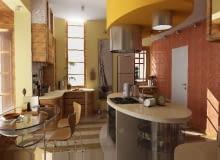 Ten dekoracyjny sufit o owalnym rzucie umieszczono tylko nad wyspą kuchenną. Ukrywa on przewód połączony z kanałem wentylacyjnym