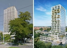 Wieżowiec TVP Szczecin obecnie (po lewej) i projekt budynku Sky Garden w Szczecinie ( z prawej)