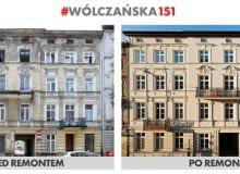 """Kamienica przy ul. Wólczańskie 151 wyremontowana w ramach programu """"Mia100 Kamienic"""" - stan przed i po przeprowadzeniu prac"""