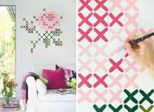 haft krzyżykowy, ściana, DIY, zrób to sam