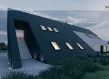 Projekt domu jednorodzinnego pod Poznaniem z garażem na 8 miejsc postojowych