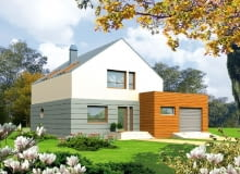 Dom z przestrzenią gospodarczą, elewacja frontowa
