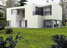 Projekt nowoczesnego domu na dużą działkę. Widok od ogrodu