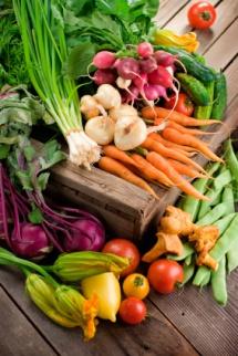 натурални оранжеви моркови, зелен чесънвърху дъски