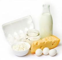 Мляко, кашкавал и яйца в бяла кора на бял фон