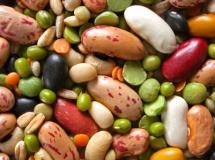 шарени бобови зърна, зелени грахови и пшеничени зърна