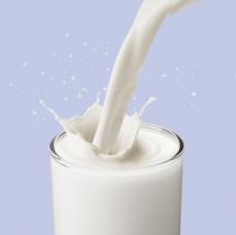 Мляко в стъклена чаша се налива на сив фон