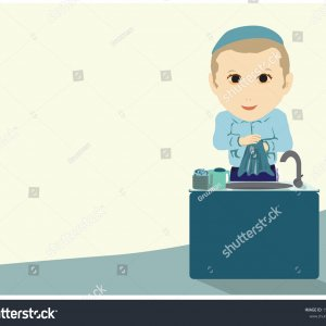 -vector-a-painting-of-an-ultra-orthodox-jewish-boy-wiping-his-hands-with-a-1584363952