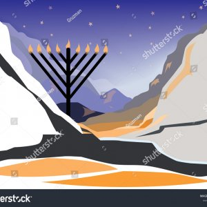 Vector-hanukkah--illustration-silhouette-of-a-black-menorah-חנוכיה בשלג 1585294249