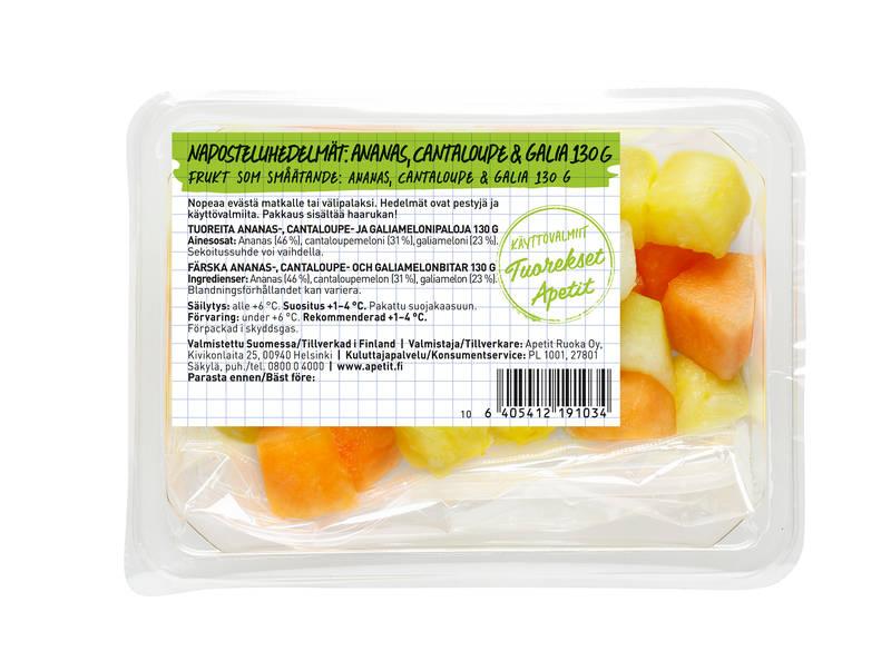 Apetit Tuorekset Naposteluhedelmät: Ananas, cantaloupe & galia 130 g