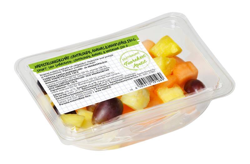 Apetit Tuorekset Naposteluhedelmät: Cantaloupe, ananas & viinirypäle 130 g