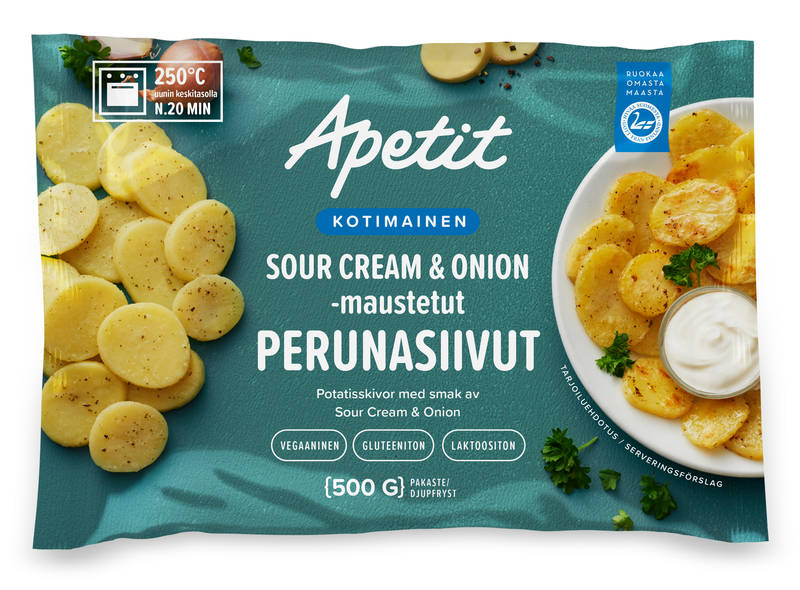 Apetit Kotimainen Perunasiivut Sour cream & onion 500 g